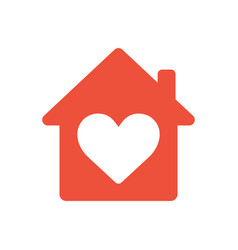 heart sign in house icon ed icon love home vector image