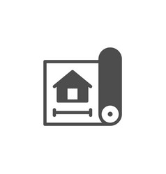 house blueprint or architecture plan icon vector image
