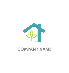 house realty eco leaf logo vector image