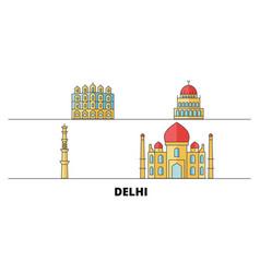 india delhi city flat landmarks vector image