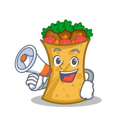 Kebab wrap character cartoon with megaphone vector