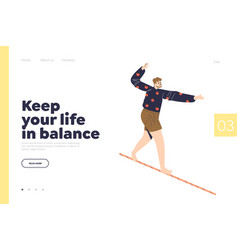 Keep life in balance concept landing page with vector