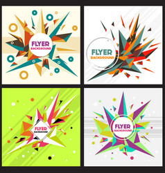 low poly flyer style background design template vector image