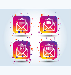 mail envelope icons message document symbols vector image
