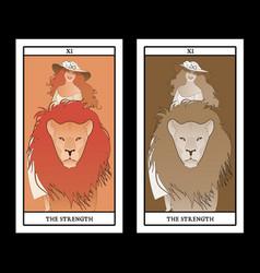 major arcana tarot cards the strength beautiful vector image