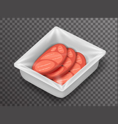Meat isometric disposable food pack isolated 3d vector
