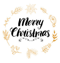 Merry chistmas lettering with floral and pine vector