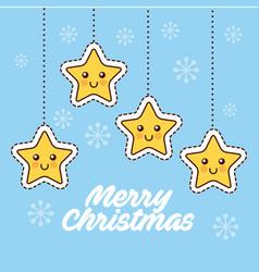 merry christmas cartoon stars hanging decoration vector image