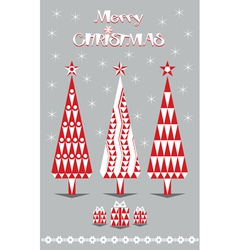 Merry Christmas red and gray vector image