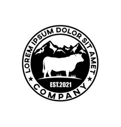 modern beef badge logo vector image