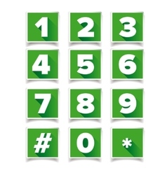 Number icon set square green vector image
