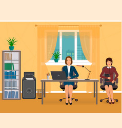 Office interior with two employee business vector