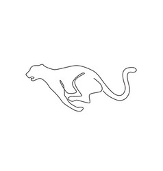 one single line drawing jump running cheetah vector image