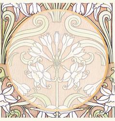 Ornamental frame vintage botanical vector