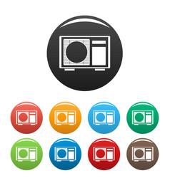 Outdoor conditioner radiator icons set color vector