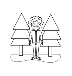 Outline man curly hair and pine trees vector