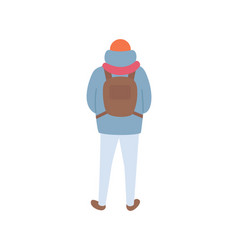 Person standing back with backpack isolated vector