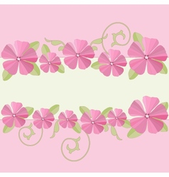 Pink flowers ornate frame background vector