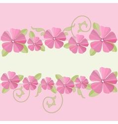 Pink flowers ornate frame background vector