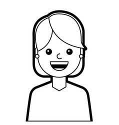 portrait young woman cartoon smiling happy vector image