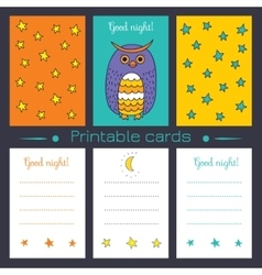 Printable cards with owl vector image