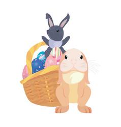 rabbits egg easter vector image