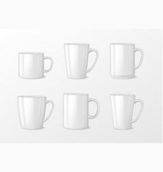 realistic blank white coffee mug cups with handle vector image