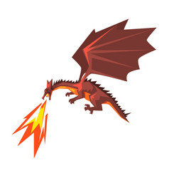 Red dragon spitting fire mythical fire breathing vector