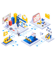 Remote management isometric concept vector
