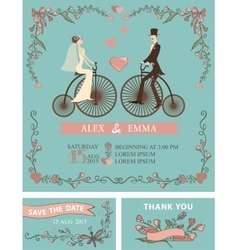 Retro wedding invitationBridegroomretro bicycle vector
