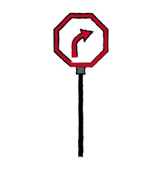 Road traffic signal with arrow caution vector
