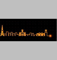 Sapporo light streak skyline vector