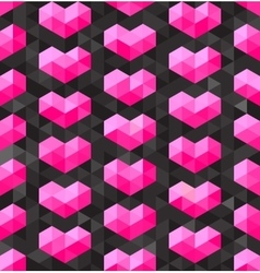 Seamless geometric pink hearts shapes on vector