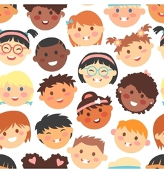 seamless pattern kids faces different vector image