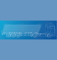 Semi-trailer dump truck sketch isolated on blue vector