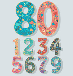 Set of numbers with colorful floral decor vector