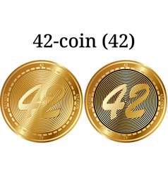 Set of physical golden coin 42-coin 42 vector