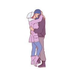 sketch lovers hugging kissing at winter vector image