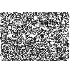 Sketchy hand drawn doodle cartoon set objects vector