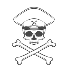 Skull with general hat and cross bones Dead crazy vector