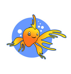 smile yellow goldfish design vector image