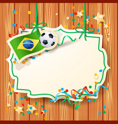 Soccer background with label and brazilian flag vector