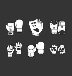 Sport gloves icon set grey vector