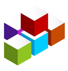 stacked 3d cubes colorful icon on white isometric vector image