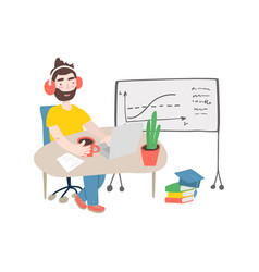 student in learning process flat man studying vector image