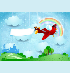 Surreal landscape with small city airplane and vector
