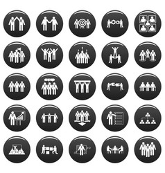 team building training icons set vetor black vector image