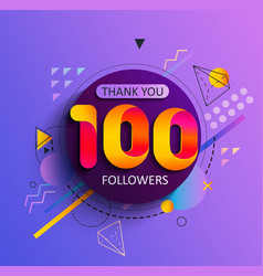 Thank you first 100 followers vector