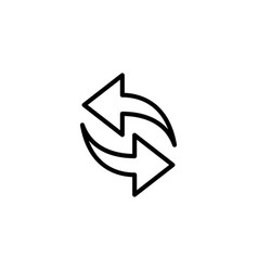 thin line synchronize refresh icon vector image