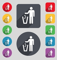 throw away the trash icon sign A set of 12 colored vector image